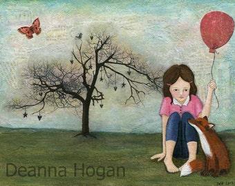 Art Print - Girl & Fox by Deanna Hogan, 9 X 12