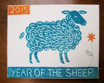 Year of the Sheep, original block print on linen canvas