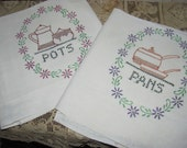 Wow...Lowered Price Set of Two Very Special Extra Large Dish Towels,Fabulous Fabric