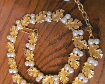 Signed Trifara Necklace Vintage Gold Tone Leaves Faux Pearls, Wow, Lowered PRice