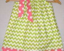 Sale Pillowcase dress 15%off coupon is til2016 Lime Green chevron Riley Blake fabric pillowcase dress 3,6,9,12 month 2t,3t,4t,5t,6,7,8,10,12