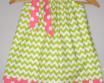 Sale Pillowcase dress 15%off coupon is til2016 Lime Green chevron Riley Blake fabric pillowcase dress 3,6,9,12 month 2t,3t,4t,5t,6,7,8,10,12