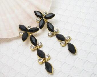 Long Black Earrings Rhinestone Jewelry E6193