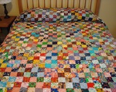 Large bed quilt with flannel backing PLUS smaller quilt for over bed pillows - one price-FREE SHIPPING