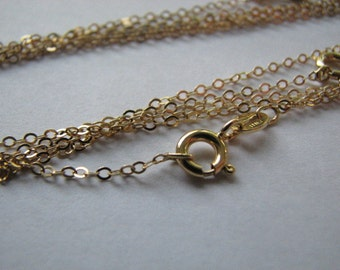 5 pcs 18 inch Gold Flat Cable Chains Goldfilled Necklaces with Spring Clasps, Highest Quality Wholesale Gold fill Chains