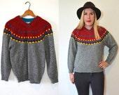 Grey Fair Isle Sweater -Chunky Knit Sweater -Grey Sweater - Holiday Sweater