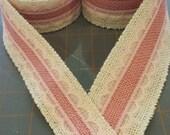 Blush Pink Burlap and Pink Lace on Ivory Burlap Ribbon