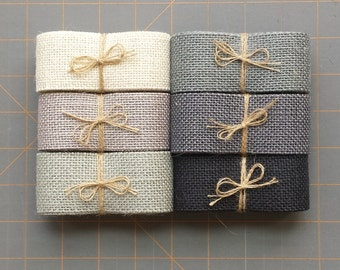 1.5 inch Grey Burlap Ribbon - 3  yards
