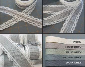 Grey Burlap with Ivory Lace Ribbon