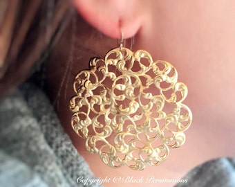Lagertha Earrings - 14/20 Gold Filled Ear Wires - Brass Filigree Stampings - Free Domestic Shipping