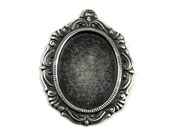 1 Piece - Blackened - VERY DARK FINISH - Antiqued Sterling Silver Plated Cameo Setting - 18x25mm