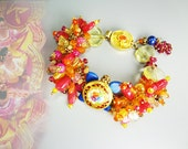 Chunky button bracelet. Colorful beaded bracelet in hot pink tangerine and blue gemstones with antique button - Fiesta