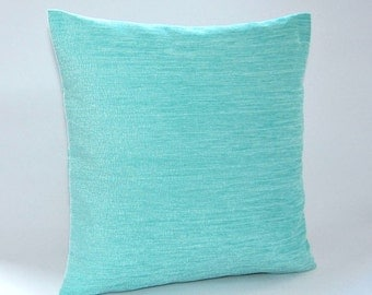 light blue chenille cushion cover, accent decorative pillow cover 16 inch