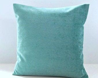 light blue accent cushion cover velvet chenille, 16 inch decorative pillow cover