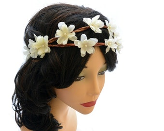 Wedding Flower Crown, Woodland Fairy Flower head piece,  Ivory bridal hair accessory, double layer flower crown