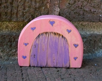 Miniature Fairy Door Magical Portal. Pink with Purple Hearts 2 inches