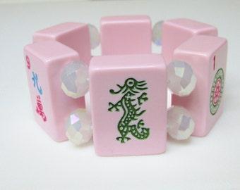 Mah Jong Bracelet / Pink Mah Jong Bracelet / Mah Jongg Bracelet / Mahjong Bracelet / Mahjongg Bracelet / Dragon / Asian / Jewish / Fun