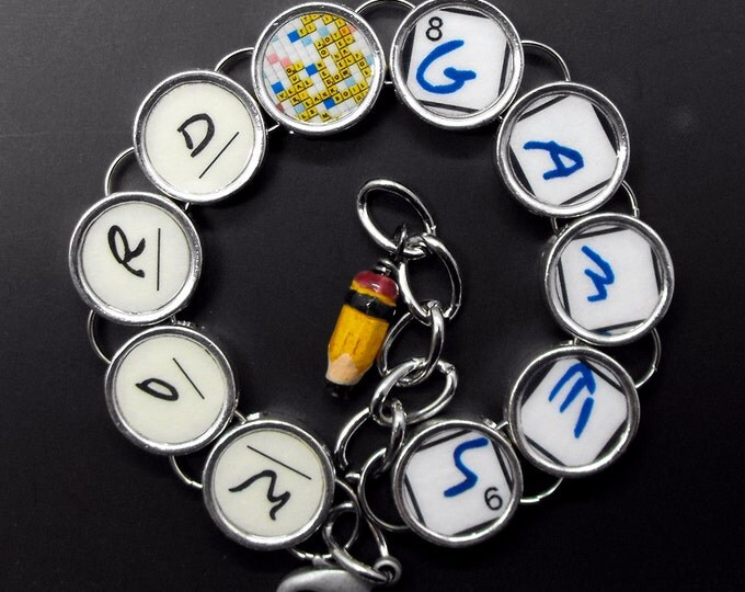 Word Games Bracelet Crossword Puzzle Jewelry