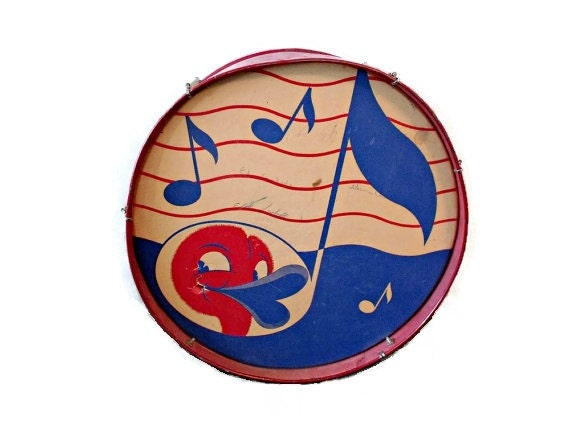 1940s toy drum - Duck face - Musical note - Vintage childrens drum