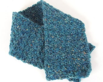 Unisex Crocheted Turquoise Tweed Scarflette for Adults
