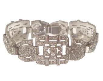 Antique Art Deco Bracelet, KTF Trifari 1930s Designer Jewelry, Art Deco Statement Jewelry, Antique Wedding Jewelry, Bridal Accessory