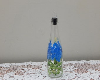 Hand Painted Glass Bottle withTexas Bluebonnets and Free Flowing Spout