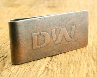 Personalized money clip, custom initials money clip, embossed initials on front, large raised stencil font, optional engraving on back.