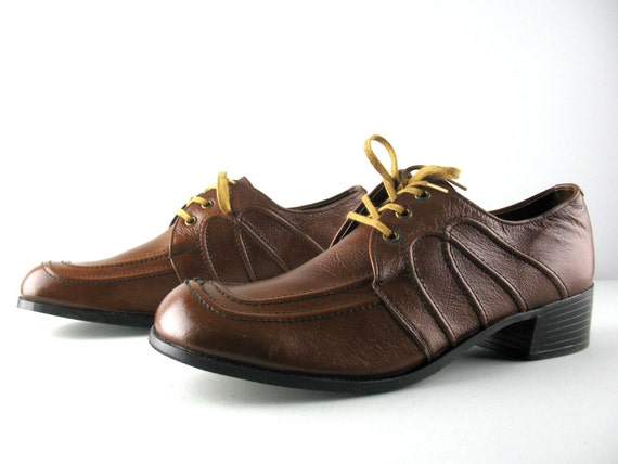 vintage 70s mens shoes 13 stacked heels brown by