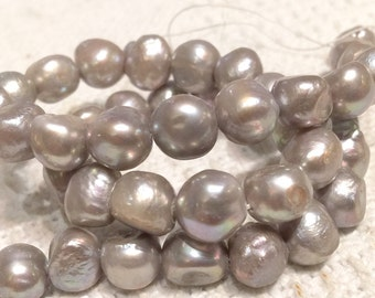 Freshwater Pearl Baroque Pearl silver platinum large pearl nugget 9-11mm----15 inches Full Strand Genuine Pearl NEW PROMOTION Sale #BA4048