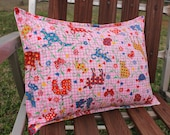 SALE Pink Nursery Pillow Vintage Gingham Animals 12 x 16
