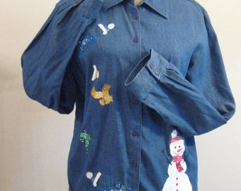 SALE Vintage Snowman Winter scene Denim Shirt
