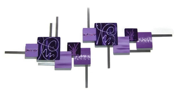 """Purple Wall Sculpture, Contemporary,  Abstract Art, Floral Wall Decor, Square Wall Sculpture, Purple Lilac Wood Art with Metal 53"""" x 25"""""""