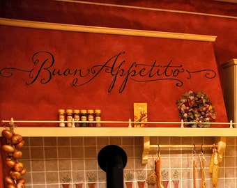 Kitchen Wall Decal Italian Boun Appetito Cooking Vinyl Lettering Wall Sticker