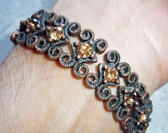 Stretch Copper and Rhinestone Bead Bracelet - made from vintage beads - Copper Stretch Bracelet - Faux Topaz Bracelet