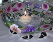 Wild Roses and Thistle Floating Candle Bowl