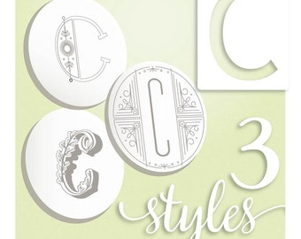 Embroidery Pattern, Modern Monograms Letter C hand embroidery patterns in three styles Alphabet Letter embroidery designs by SeptemberHouse