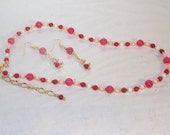 Gemstone Jewelry  -  Multicolored Coral Necklace & Earring Set