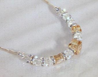 Swarovski Crystal Bridal Jewelry - Bride, Bridesmaid, Maid of Honor - Necklace - Any Color
