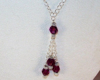 Birthstone Lariat Necklace - February / Amethyst