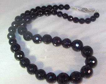 Gemstone Jewelry - Faceted Black Tourmaline - Graduated - Necklace
