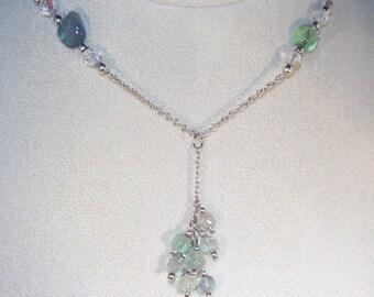 Gemstone & Swarovski Crystal Jewelry - Green Fluorite Y Necklace