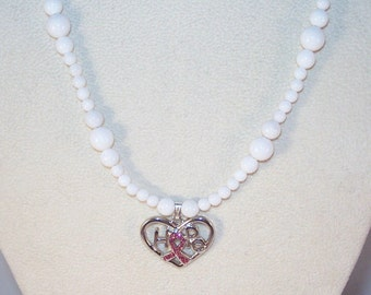 Gemstone Jewelry - Breast Cancer Awareness - White Mountain Jade Necklace