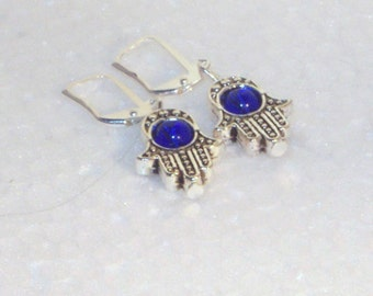Silver and Crystal Jewelry - Earrings - Silver Hamsa with Cobalt Crystal Center