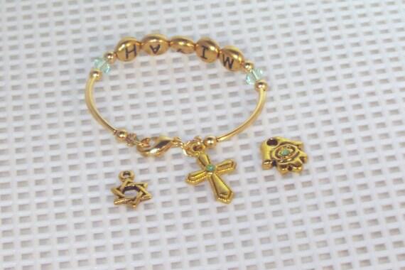 Newborn Name & Birthstone Bracelet With Charm - Silver or Gold - Baby, Toddler, Newborn, Young Girl Bracelet - Keepsake - Birthstone