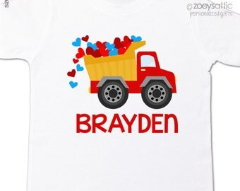 Valentine's Day shirt construction dump truck with hearts personalized Tshirt or bodysuit