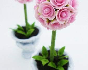 Miniature Roses Polymer Clay Flowers Supplies Topiary 2 pcs