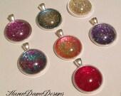 SALE- Glitter Glass Dome Pendants- All 7 for 35.00
