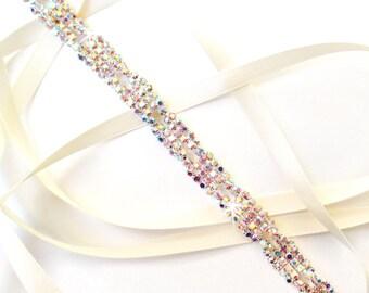 Thin Aurora Borealis Rhinestone Ribbon Bridal Headband - White or Ivory Satin - Silver and AB Crystal Hairpiece