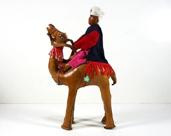 Vintage Leather Camel Figure with Rider, Toy Statue, Jewel Colors