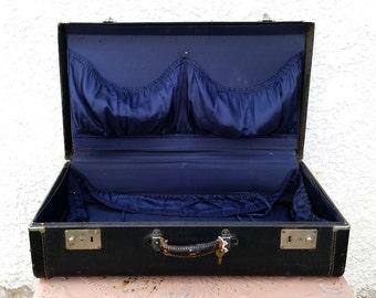 Vintage Black Suitcase, Dark Leather Trim  - Royal Blue Silky Interior, Rustic Leather Handle, Original Key!